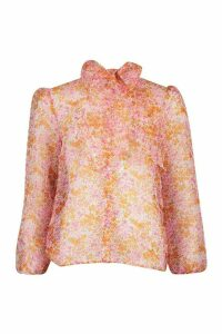Womens Ditsy Floral Print Pussybow Organza Mesh Shirt - Pink - 14, Pink
