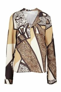 Womens Animal Print Utility Woven Blouse - Brown - 14, Brown