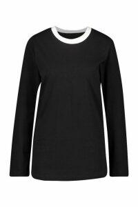 Womens Long Sleeve Oversized T-Shirt - black - 16, Black