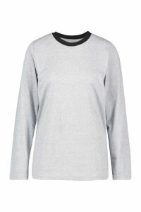 Womens Long Sleeve Oversized T-Shirt - Grey - 14, Grey