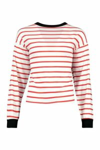 Womens Striped Tee With Contrast Neck & Cuff - Black - 8, Black