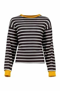 Womens Striped Tee With Contrast Neck & Cuff - yellow - 14, Yellow