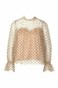 Womens Premium Dobby Mesh Ruffle Blouse - beige - M, Beige