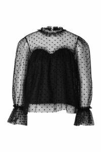 Womens Premium Dobby Mesh Ruffle Blouse - black - XS, Black