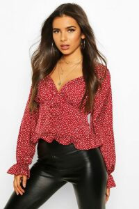 Womens Ditsy Floral Corset Detail Woven Blouse - red - 10, Red
