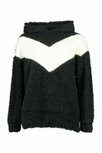 Womens Borg Chevron Oversize Hoodie - black - 14, Black