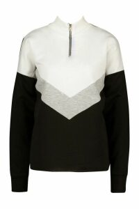 Womens Chervron Colour Block Zip High Neck Sweatshirt - black - 16, Black