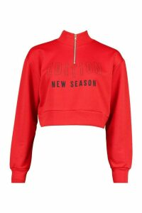 Womens Slogan High Neck Zip Crop Sweatshirt - Red - 14, Red
