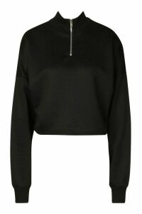Womens Rib High Neck Zip Crop Sweatshirt - black - 14, Black