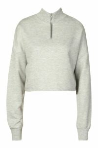 Womens Rib High Neck Zip Crop Sweatshirt - Grey - 16, Grey