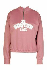 Womens Graphic Zip High Neck Crop Sweatshirt - Pink - 16, Pink