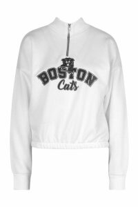 Womens Graphic Zip High Neck Crop Sweatshirt - white - 16, White
