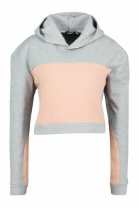 Womens Colour Block Boxy Hoody - grey - 14, Grey