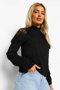 Womens Woven Ruffle Lace Detail Blouse - Black - 12, Black