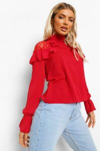 Womens Woven Ruffle Lace Detail Blouse - Red - 12, Red
