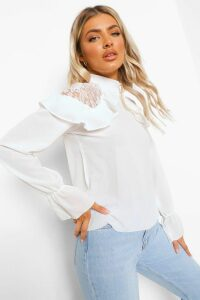 Womens Woven Ruffle Lace Detail Blouse - White - 14, White