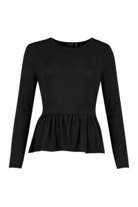 Womens Frill Hem Long Sleeve Top - black - 12, Black
