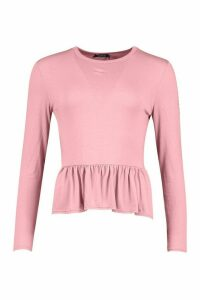 Womens Frill Hem Long Sleeve Top - Pink - 12, Pink