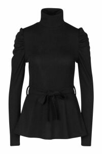 Womens Belted Peplum Long Sleeve Top - black - 14, Black