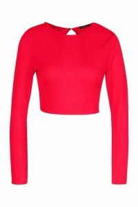 Womens Crepe Strappy Open Back Top - red - 16, Red
