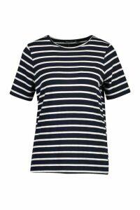 Womens Short Sleeve Striped T-Shirt - navy - 14, Navy