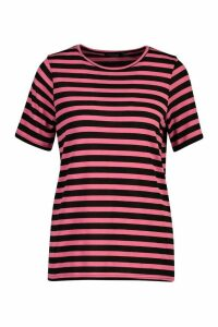 Womens Short Sleeve Striped T-Shirt - Pink - 14, Pink