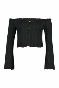 Womens Bardot Top With Fluted Edge & Bell Sleeves - black - 14, Black
