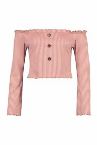 Womens Bardot Top With Fluted Edge & Bell Sleeves - pink - 14, Pink