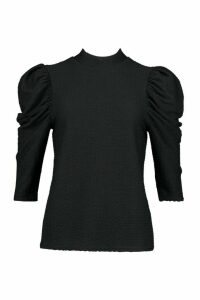 Womens roll/polo neck Top With 3/4 Feature Sleeves - black - 14, Black