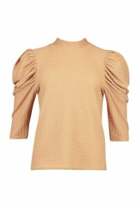 Womens roll/polo neck Top With 3/4 Feature Sleeves - beige - 14, Beige