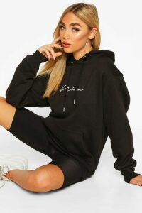 Womens Woman Signature Oversized Hoodie - Black - 14, Black