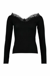 Womens Lace Trim Rib Top - black - 16, Black