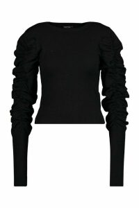 Womens Ruched Puff Sleeve Knit Top - black - M/L, Black