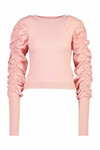 Womens Ruched Puff Sleeve Knit Top - Pink - M/L, Pink
