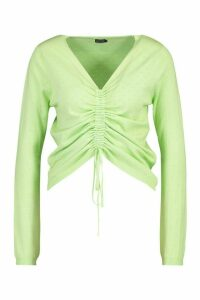 Womens Pointelle Ruched Knit Top - Green - L, Green