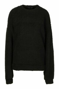 Womens Borg Oversized Sweatshirt - black - 16, Black