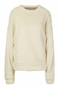 Womens Borg Oversized Sweatshirt - white - 16, White