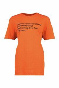 Womens Oversized Woman Print T-Shirt - orange - M, Orange