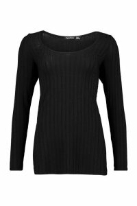 Womens Jumbo Ribbed Side Split Longsleeve Top - black - 10, Black