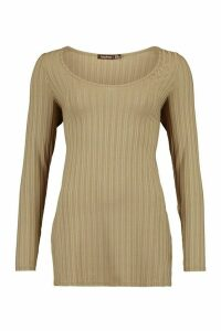 Womens Jumbo Ribbed Side Split Longsleeve Top - Green - 8, Green