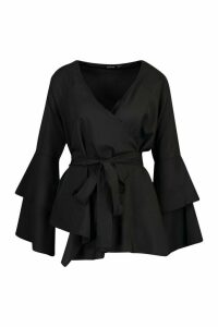 Womens Tie Waist Frill Sleeve Blouse - black - 12, Black