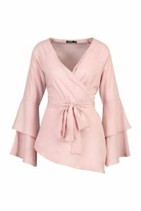 Womens Tie Waist Frill Sleeve Blouse - Pink - 16, Pink