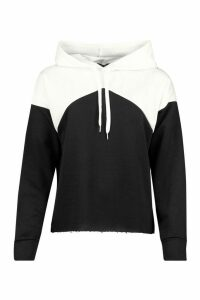 Womens Oversized Rib Cuff Colour Block Hoody - black - 16, Black