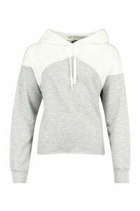 Womens Oversized Rib Cuff Colour Block Hoody - grey - 16, Grey