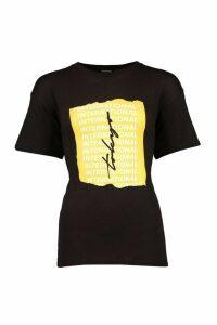 Womens International Slogan Print T-Shirt - black - M, Black