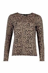 Womens Knitted Mono Animal Printed Top - beige - 16, Beige