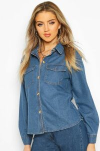 Womens Denim Western Shirt - blue - 16, Blue