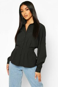 Womens Pleated Waist Cotton Shirt - black - 14, Black