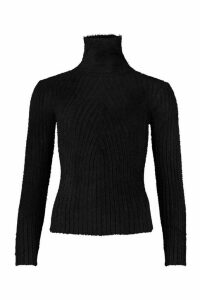 Womens Rib Knit Fluffy Roll Neck Top - black - M/L, Black