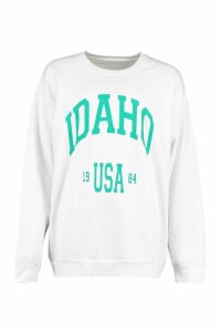 Womens Idaho Slogan Extreme Oversized Shirt - white - M, White